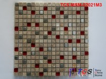 TCS-MSM-02021M3 Marble Mosaic 15mm Mixed Marble Glass Metal