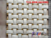 TCS-MSM-06050M2 Marble Mosaic 3D Weave White Marble