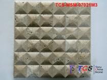 TCS-MSM-07021M3 Marble Mosaic 3D Beige Travertine