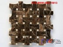TCS-MSM-08011M13 Marble Mosaic Weave Emperador Dark
