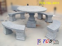 TCS-TBL-0011 Table + Bench G603 Silver Grey Granite